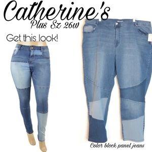 Catherine's color block panel jeans. Sz 26w